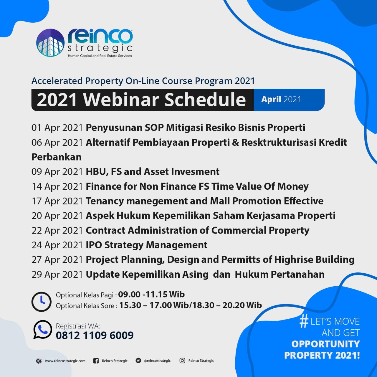 Webinar Schedule April 2021